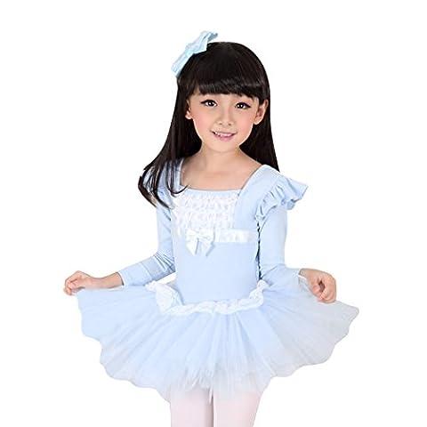 Geschenk-Idee! VENI MASEE Prinzessin Design Langarm Ballett Tutu Kleid, Größe 4-10 - Blau