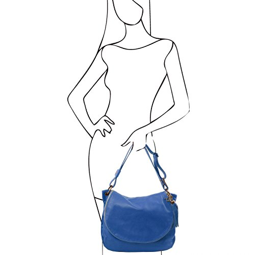 Tuscany Leather - TL Bag - Borsa morbida a tracolla con nappa Rosso - TL141110/4 Blu