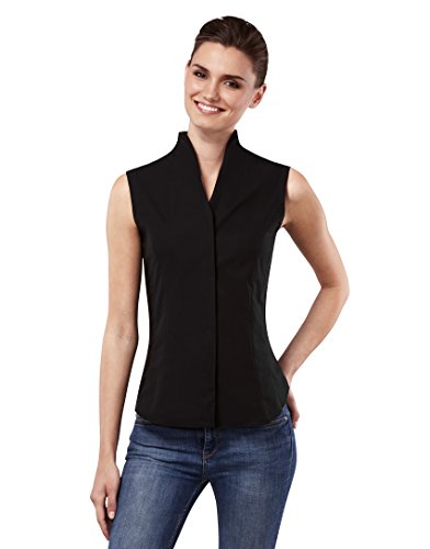 Vincenzo boretti camicia da donna, senza maniche, modern fit, calice colletto, uni–non necessita di stiratura nero 44