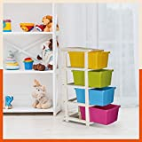 Bathla Stomo 4 - Large Multi-Purpose Modular Drawer Storage System for Home and Office with Trolley Wheels and Anti-Slip Shoes (Multicolour)