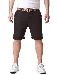98-86 Herren Kurze Hose Chino Style mit buntem Flecht Gürtel Holzknöpfe