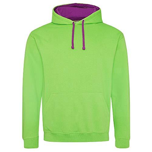 Just Hoods - Varsity Hoodie - 2-farbiger Kapuzenpullover M,Lime Green/ Magenta Magic - Kleine Kinder Lime Bekleidung