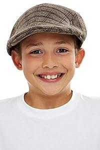 Smiffys 50749 - Gorra plana para niños, unisex, color marrón y negro, talla única