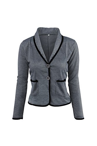 Frauen Plus Size Elegante Lange Ärmel Colorblock Button - Down - Kurzen Anzug Blazer Outcoat Darkgrey (Size Outfits Plus)