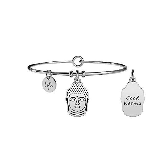 Kidult - bracciale in acciaio 316l con ciondolo buddha - saggezza - cod 231549
