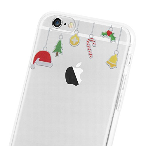 "iPhone 6 Hülle, JAMMYLIZARD Transparentes Gel Weihnachts-Sketch Back Cover aus Silikon für iPhone 6 / 6s 4.7"", CHRISTMAS IS COMING HÄNGENDE DEKORATION"