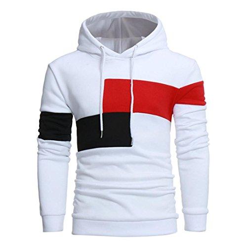 Hoodie Herren Männer Nähen Farbe Langarm Mantel Jacke Sport Tops Outwear GreatestPAK,Weiß,M -