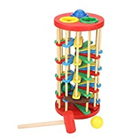 GOTOTOP Wooden Toy,Pounding Toy Educational Knocking Ball Off Ladder Wooden Toys With Hammer Bright Color Early Education Toys for Toddlers Preschool Kids Children