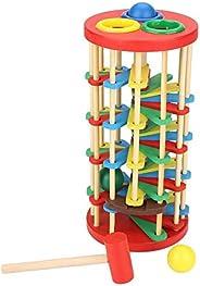 ViaGasaFamido Pound and Roll Torre de Madera Juguete Educativo Golpeando La Pelota Escalera Juguete con Martil