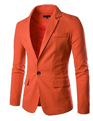 Ghope Herren Sakko Blazer Freizeit Business Jacke Anzugsjacke Slim fit Classic Einzelner Knopf ,Orange L (3-knopf-herringbone-jacke)