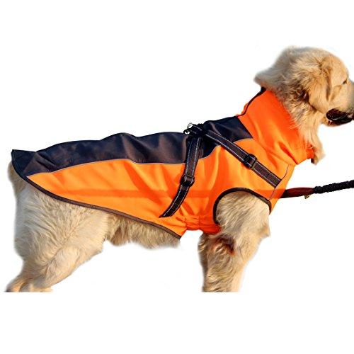 JoyDaog mit Fleece gefütterte Hundejacke, Stretchy, aus Polyester, warm, für mittlere bis große Hunde, Winterjacke für Draußen, wasserdicht, mit integriertem Hundegeschirr auf der Rückseite (Jacke Travel Orange)