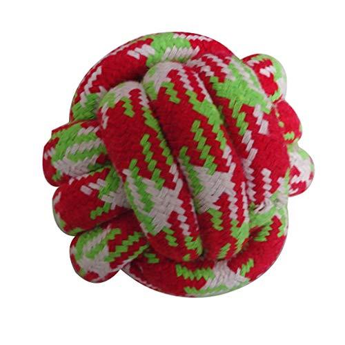 lindahaot 6cm Farbiger Streifen Pet Kauen-Kugel Handweb Baumwolseil Kugel beißfest Pet Kauen Spielzeug zufällige Farbe -