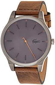 Lacoste Men's Grey Dial Color Leather Strap Watch - 201