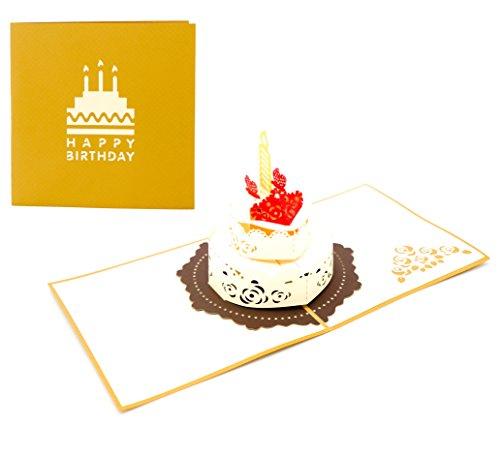 3D Klappkarte, handgearbeitete Grußkarte, Glückwunschkarte zum Geburtstag, inklusive Umschlag und Schutzfolie (Happy Birthday - Torte)