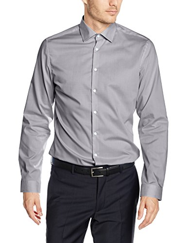 Seidensticker Herren Businesshemd Slim Langarm mit Kent-Kragen Bügelfrei,Grau (Grau 32),45 cm