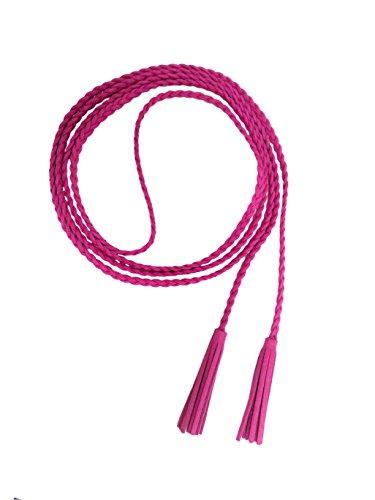 Nanxson(TM) Damen / Mädchen Dekorative Gestrickte Lederbauchkette / Seil / Gurt mit Troddel PDW0042 (pink)