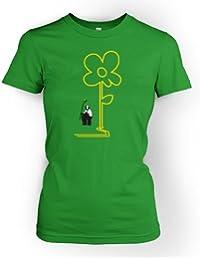 Gelbe Linien Blume Banksy Damen T-Shirt