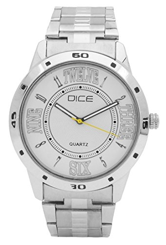 """Dice """"Numbers 4234"""" Formal Round Shaped Wrist Watch for Men. Fitted with Beautiful White Color Dial, Stainless Steel Case and Chain"""