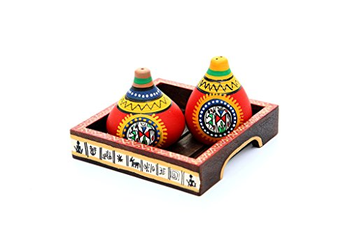 INDIKALA Terracotta Warli Handpainted Salt & Pepper Shaker With Tray