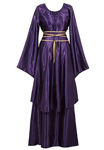 Mittelalter Kleid mit Trompetenärmel Party Kostüm Damen Maxikleid Vintage Retro Renaissance Johanna Night Lila 2XL