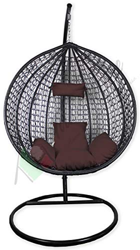 Sedia Dondolo Poltrona Intrecciata Sospesa da Giardino con Morbido Cuscino Tipo Medium Colore Marrone