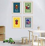 4 affiches super héros, affiche enfant A4