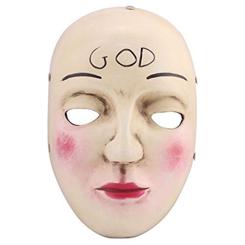 SummarLee Halloween Maske Smiley Kreuz Maske Kostüm Party Lustige Horror Maske Vollgesichtsmaske Harz,a