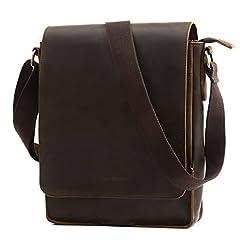Idea Regalo - Leathario Borsa a Spalla in Pelle da Uomo Messenger Bag a Tracolla Ventiquattore per Lavoro Porta PC 10 Pollici (Caffe)