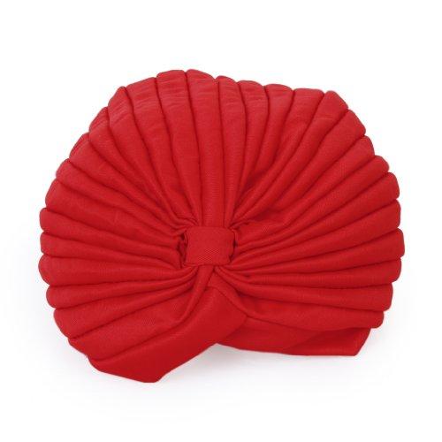 Gefaltete Polyester (Polyester gefaltet Turban Kopf wickeln Kopf wickeln Kappe Twist Hut (rot))