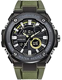 TIMEWEAR Limited Edition Analog Digital Army Green Strap Sports Watch for Men - 1625 Green