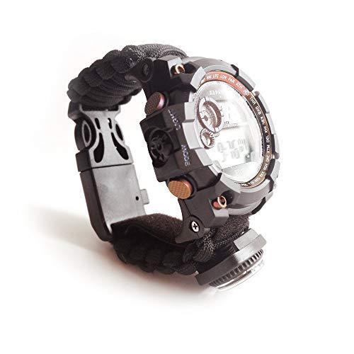 Multifunktionale Wasserdichte Digitalanzeige Armband im Freien Notfall, 7 Core Fallschirm Seil/Pfeifen/Thermometer/Notfallwerkzeug Edelstahl Klinge/Kompass/Flint