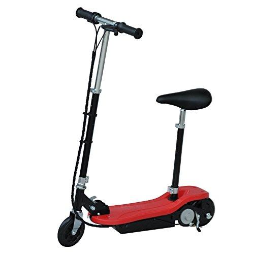homcom Monopattino Scooter Elettrico con Sedile per Bambini Struttura in Metallo Pieghevole 81.5 x 37 x 96cm, Rosso