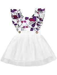 K-youth Vestido Bebe Niña, Ropa Bebe Niña Recien Nacido Bebé Hoja Impresión Tul Vestido Niña Vestidos de Fiesta Tutú Princesa Vestido de Niña