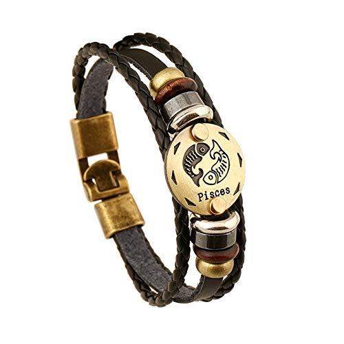 Daxey - Arbeiten Sie Charme Schmuck Bronze Legierung 12 Sternzeichen-Leder-Armband Punk Holzperlen für Damen und Herren Mehrschichtige Leicht Buckles [6 ()