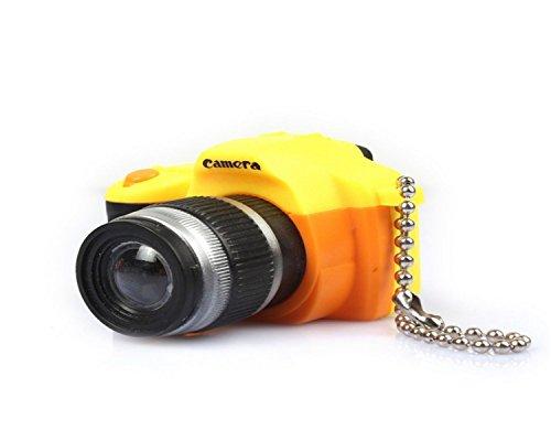 WODEJIAYUAN Neuheit-nette Kamera LED KeyChain Schlüsselring-Fackel mit Licht u. Stichhaltigem Ton KeyChain Schlüsselring, der für Beutel hängt (Gelb) (Gefroren Für Drei-jährige)