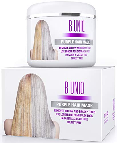 Silber Haarmaske für silbernes & blondiertes Haar - Purple Hair Mask B Uniq no yellow - intensive Haarpflege für trockenes, strapaziertes & geschädigtes Haar - 215 ml