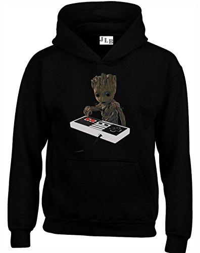 JLB Print Baby Groot Playing a SNES Superheld Film & Comic Fan Hochwertige Unisex Hoodies fur Manner Frauen und Jugendliche - Schwarz/X Groß