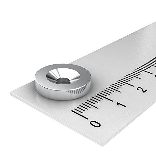20 x Neodym Scheiben Magnet, 15 x 3 mm, mit 3.5 mm Bohrung und Senkung, vernickelt, zum Einschrauben -