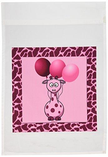 1Pink Giraffe mit Giraffe Print und rosa Luftballons Garden Flagge, 12von 18 (Giraffe Luftballons)
