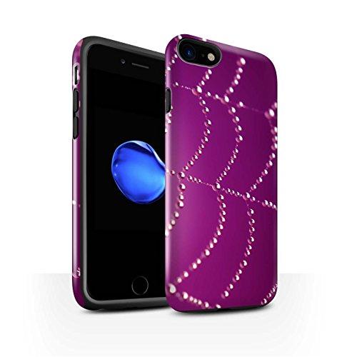 STUFF4 Glanz Harten Stoßfest Hülle / Case für Apple iPhone 8 / Rosa Muster / Spinnen Netz Perlen Kollektion Rosa