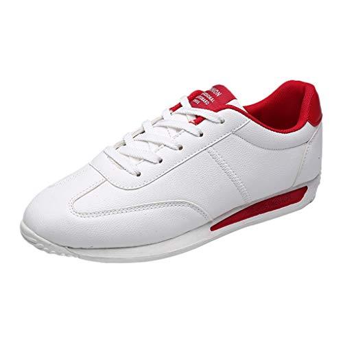 Dorical Herren Damen Flach Sneakers Sportschuhe Laufschuhe Air Freizeitschuhe Mode Wanderschuhe Joggingschuhe Verschleißfest Turnschuhe Rutschfest Leichte Bequem Gym Straßenlaufschuhe(Rot,39 EU)
