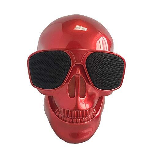 WAXCCBluetooth SpeakerPortable 2000mAh 5W Schädel Drahtlose Bluetooth 4.0-Lautsprecher Super Bass Brille Subwoofer Mehrzweck-Aero-Schädel-Lautsprecher, Rot