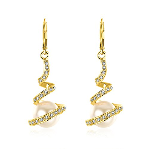 Butterme Sterling Silber Vergoldet Threader Dangling Perle Drop Ohrringe Modeschmuck für Frauen Mädchen (Vergoldet-lange Ohrringe)
