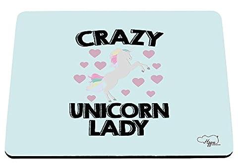 Hippowarehouse Crazy Licorne Lady Imprimé Tapis de souris accessoire de base en caoutchouc Noir 240mm x 190mm x 60mm, bleu/vert, taille