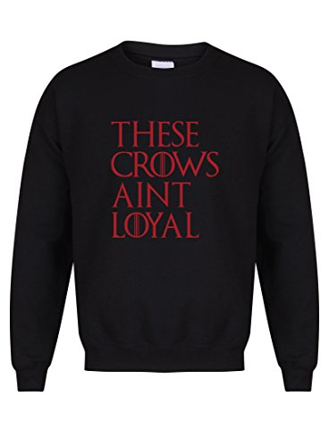 These Crows Ain't Loyal - Unisex Fit Sweater - Fun Slogan Jumper (Medium - Chest 38-40 inches, Black/Red)