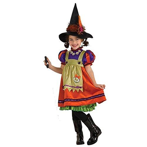 kleine Hexe Orange Witch Fasching Halloween Karneval Kinder Mädchen Kostüm Kleid +Hut (122-128)