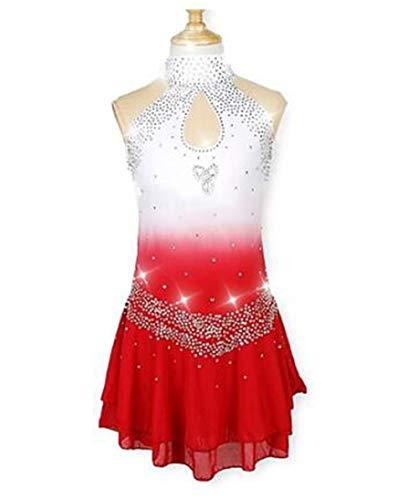 TQ Mädchen Eislaufen Kleider Rot Halo-Färbung Elasthan Mikro-elastisch Leistung/Professionell Eiskunstlaufkleidung Modisch/Strass Ärmellos Latintanz/Volkstänze,120CM