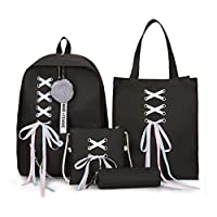 Ludzzi Teenage Girls School Bagpack 4Pcs/Set Ribbon Chain Bowknot Letter Canvas Backpack Travel Rucksacks Daypack for Daily (Black)