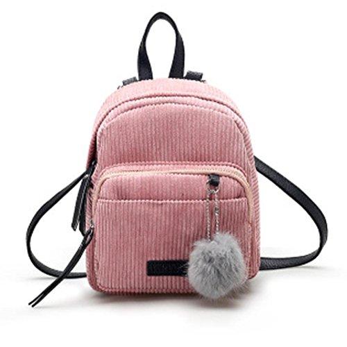 BZLine® Frauen Leder Rucksäcke Schulranzen Travel Rucksack Schultasche, 24cm*20cm*10cm Pink