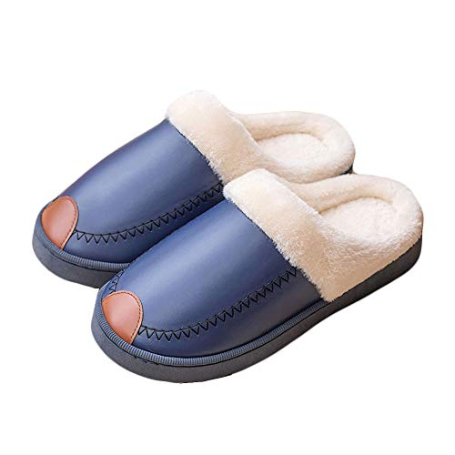 Pantoufles Hommes Mousse d'hiver Moelleux Slip-on House Gentleman Col en Fausse Fourrure Maison Chaussures Intérieur en Plein Air Anti-Skid PVC Semelle Épaisse